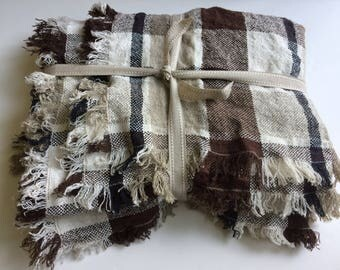 Linen Blanket, Checkered Throw, Striped Linen Throw,  Country Style Linen Blanket, Throw Blanket, Plaid Blanket, Bed Cover, Bedspread