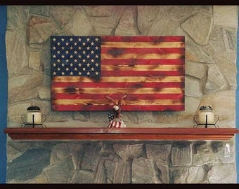 Patriotic Burned Wood American Flag Wall Art