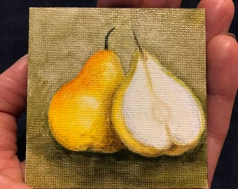 Pear Painting on Mini Canvas Magnet 2 3/4 x 2 3/4 by Zata Palange