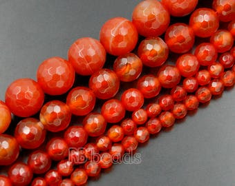 Faceted Red Agate beads, 4mm 6mm Red Agate Gemstone Beads, 8mm 10mm Round Red Agate Jewelry Beads, Stone Spacer Faceted Agate beads 15''5 st
