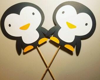 Penguin cupcake toppers, little penguins,penguin Baby shower decor,penguin party decor,penguin birthday decor,penguin party,penguin toppers