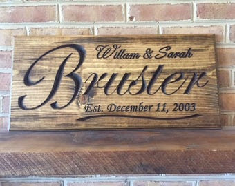 Custom Anniversary Sign, personalized anniversary sign, carved wood sign, wedding date sign, engraved family name, established date sign