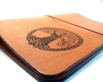 Leather Binder Tree of Life Orange Notebook Journal Cover Light Brown Refillable 6 Ring Binder Thick Leather A5 Organizer Wicca Travel Book