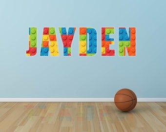 Personalised name lego bricks  wall sticker decal