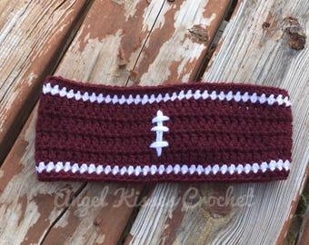 Crochet football ear warmer, team colors ear warmer, football mom, football fan
