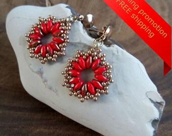 Red Earrings, Red Dangle Earrings, Red Hoop Earrings, Red And Gold Earrings, Red Bead Earrings, Red Super Duo Beads