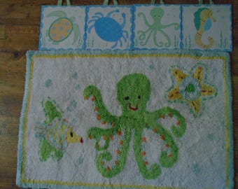 pottery barn kids ~bath mats 2~ octopus design retired ~4 qall plaques sea creatures ~matching valalce 58 x 15