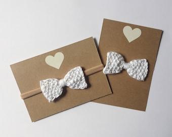 White baby bow - hand knit hair bow - nylon headband or alligator clip