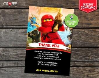 Lego Ninjago Thank You Card 4x6 - EDITABLE Text - Lego Ninjago Birthday Party Card - Instant Download - Lego Ninjago Customize Personalised