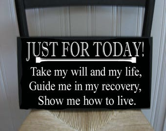 Just for Today Inspirational Handpainted Wood Sign 16 x 10.5