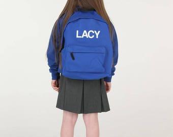 Royal Blue Personalised Kids Backpack Back to School