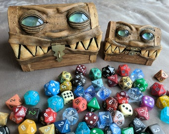 Custom, Made to Order - Wooden Mimic Dice Box - Tabletop Gaming Monstrosity Chest