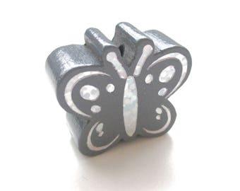 Butterfly Glitter - dark grey wooden bead