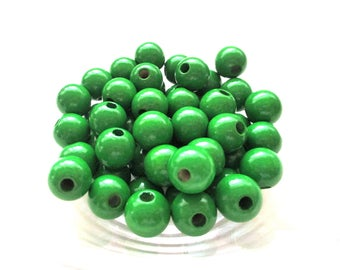 25 pacifier 12mm - Green wooden beads