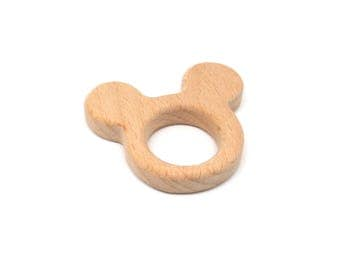 Mickey raw natural wooden teething toy