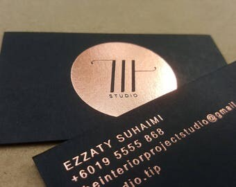 200 - Black Business Cards with foil stamping - 1 colour front & back