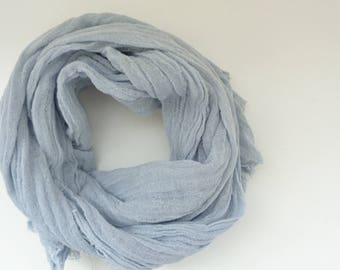 gray scarf, grey scarf, hand dyed gray scarf, long scarf, handmade scarf, gray cotton scarf, men women scarf