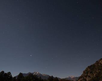 Sunset Stars over the Rocky Mountains   Buena Vista, Colorado   Fine Art Print