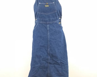 Vintage Oshkosh B'Gosh Small Denim Jumper Dress Jean Women Vestback USA Bib Overall