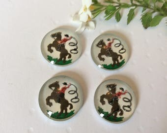 Vintage glass Intaglio C1950 depicts horse and rider Pack of 4 reverse carved jewels