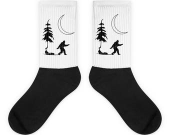 Bigfoot Socks - Sasquatch Socks - Bigfoot Print - Bigfoot Gift - Yeti Socks - Minimalist - Socks - Nature - Cryptid