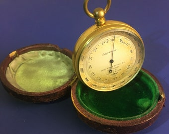 Antique Pocket Altimeter Barometer Made by Short Mason for Adolf Frese Optical Co Los Angeles