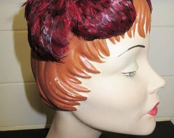 Vintage 50s Ladies Red Feather Cocktail Hat