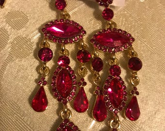 Hot Pink Jeweled Earrings