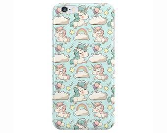 Unicorn Rainbow Cute Blue Phone Case Cover for Apple iPhone 5 6 6s 7 8 Plus & Samsung Galaxy S6 S7 S8 Plus