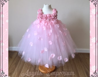Beautiful Pink Flower Girl Tutu Dress Embellished with Petals. Bridesmaids Weddings Christening Special Occasions.