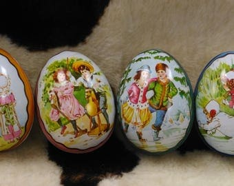 Ian Logan Tin Eggs .  Set of 4 Scenes of Children Playing  Victorian  Pastel Colors Hollow Easter Eggs  Swiss Made  (2)