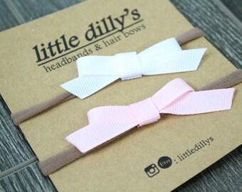 SIMPLE SINGLE BOW    nylon headband   elastic   barrette