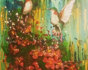 Flitterflies, original painting, acrylic painting, hummingbird, art, home decor, nature