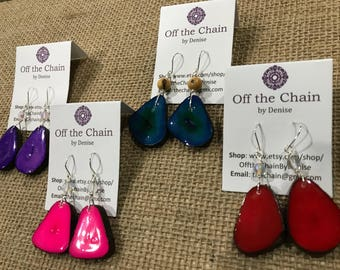 Tagua seed earrings