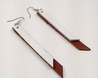 Leather Dangle Earrings, Brown and White Leather Earrings, Dangling Earrings, Brown and White  Dangling Earrings, Statement Earrings