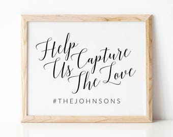 Hashtag Sign, Wedding Hashtag Sign, Hashtag Wedding Sign, Printable Wedding Sign, Help Us Capture The Love Sign, Capture The Love Sign