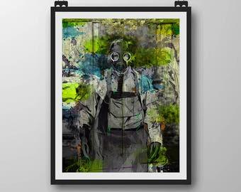GS Toxic 1  - Vector Art - Canvas Print / Giclee Prints / Wall Decor / Gas Mask