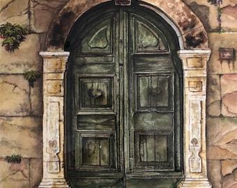 Door Study in Green  Watercolor