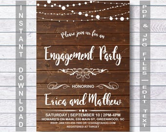 Engagement Party Invitation, Instant Download, RUSTIC Engagement Party Invitation, Engagement Party Invitation, Engagement Party, wooden