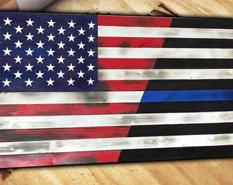 Thin Blue Line Wooden Wood American Flag Rustic Distressed Torn Burnt Large