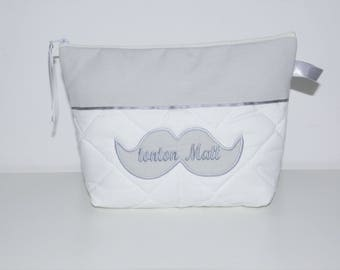Toilet bag moustache adult, child or baby custom embroidered