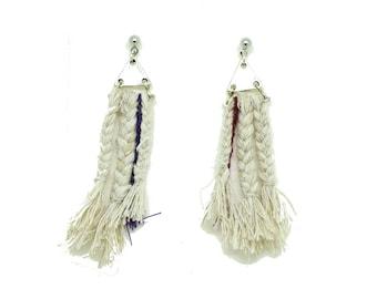 Burgundy gold braid earrings earrings neo tribal, ethnic earrings, Stud Earrings triangle