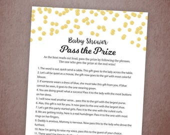 Pass the Prize Game, Baby Shower Game Printable, Gold Confetti, Fun Baby Shower Activities, Instant Download, Pass the Parcel Gift, B001