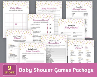 Fun Baby Shower Games Package, Printable Party Games Bundle, Girl Baby Shower Games Set, Pink Hearts, Bingo, Who Said It, SPKG, B003