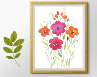 Flowers Print, Nursery wall art, Cute Art, Nursery decor, Flowers Printable art, Flowers Watercolor Painting, Botanical Print, Floral Art
