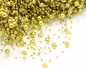 Gold Beaded Pearl Garland Spray, Gold Pearl Beaded Garland, USA Seller, 1.3m