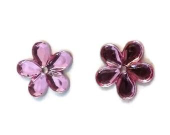 Pink Resin Flower Flatback, Resin Flatback, Perforated Flatback, Hair Bow Embellishment, Scrapbooking, Card Making, USA Seller