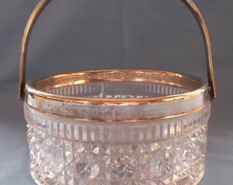 Vintage Glass Round Container with Silver Plate Rim and Handle Facetted Cut Glass.Ideal for Vintage Tea Parties