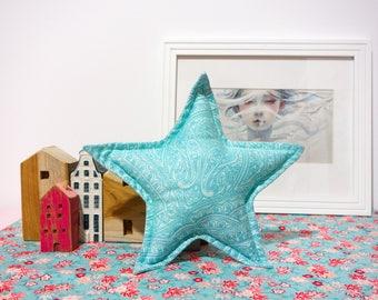 Star cushion - Handmade - light blue