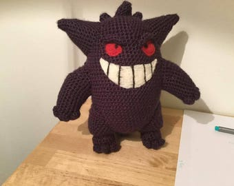 Crocheted Gengar Plush Amigurumi Pokemon